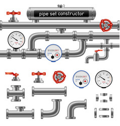 black pipe set constructor vector image vector image