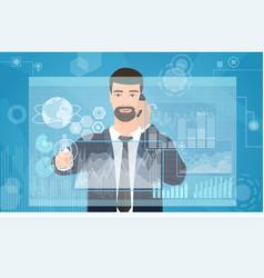businessman working using virtual media interface vector image