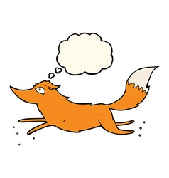 Cartoon fox running with thought bubble vector