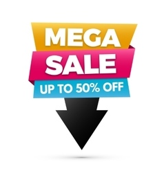 Mega sale banner yellow blue and pink colors vector