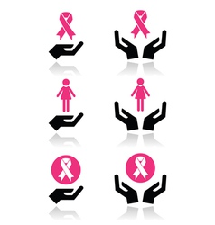 Pink ribbons - breast cancer awareness with hands vector image