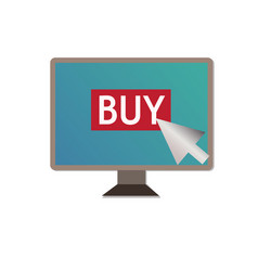 shopping on pc on white backgroundbuy on pc sign vector image vector image