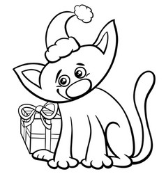 Cat on christmas time coloring book vector