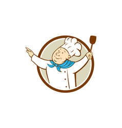 Chef Cook Arms Out Spatula Circle Cartoon vector image vector image