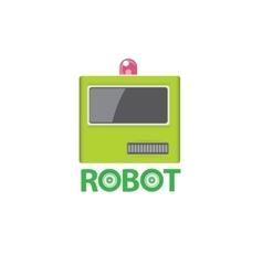 funny green robot head logo design vector image vector image