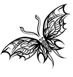grunge elegance ink butterfly vector image vector image
