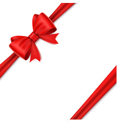 realistic red bow on white background vector image vector image
