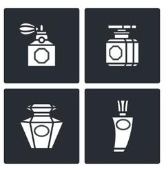 Retro perfume icons set vector image