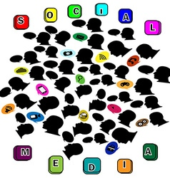 Silhouette head social networking color vector image vector image
