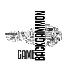 backgammon history text word cloud concept vector image