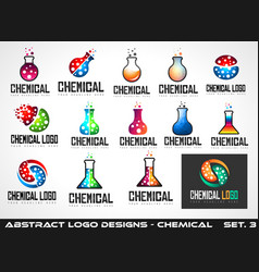 collection of creative chemical colorful logos vector image vector image