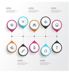 combat outline icons set collection of cranium vector image