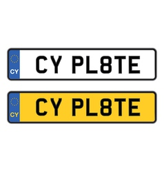 cyprus number plate vector image vector image