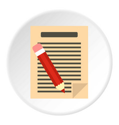 Document with pencil icon circle vector