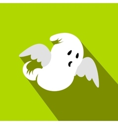 Ghost flat icon with shadow vector image vector image