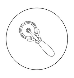 pizza cutter icon in outline style isolated on vector image vector image