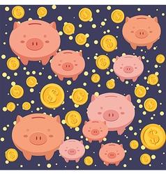 Seamless Pattern Piggybank Blue vector image vector image