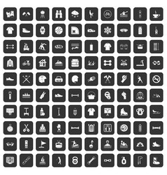 100 sport life icons set black vector image