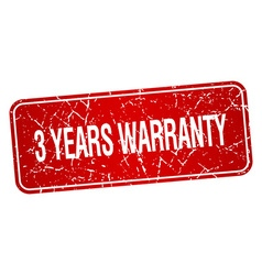 3 years warranty red square grunge textured vector