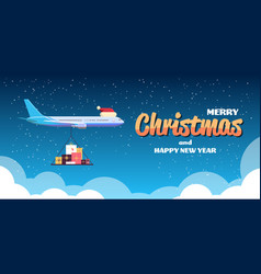 airplane with red santa hat flying with colorful vector image