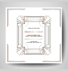 Art deco wedding invitation save the date card vector