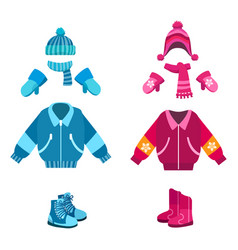 Boy and girl winter looks vector