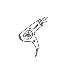 Bright banner sketch electric hair dryer art vector