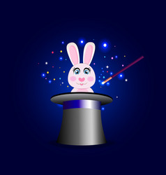 bunny in magic hat with wand on blue sparkling vector image