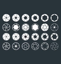 Camera with aperture lens icons shutter focus vector
