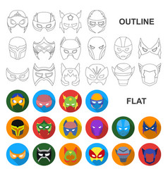 carnival mask flat icons in set collection for vector image