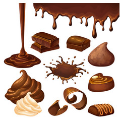 Cartoon chocolate elements set vector