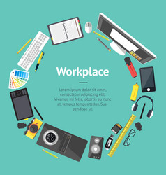 Cartoon designer workplace banner card vector