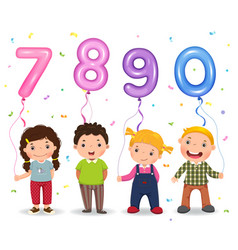 Cartoon kids holding number 7890 shaped balloons vector