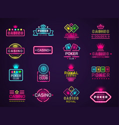casino neon badges poker club game logo colored vector image