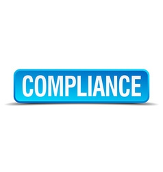 Compliance blue 3d realistic square isolated vector
