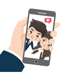 couple are taking selfies vector image