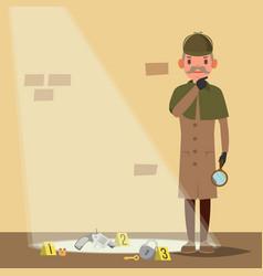 crime scene detective character man crime scene vector image