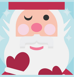 cute santa close up face christmas card on blue vector image