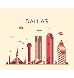 Dallas skyline trendy linear vector