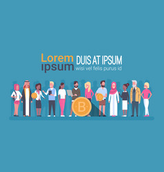 different people holding golden bitcoin web money vector image