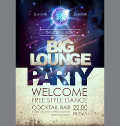 disco ball background disco big lounge party vector image