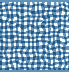 Distorted gingham blue and white wavy line pattern vector