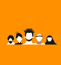 Diverse social people team background vector