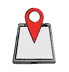 Drawing smartphone pin map location gps vector