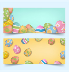 easter eggs group banners set vector image