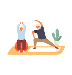 elderly couple practicing yoga at home flat vector image