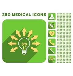 Electric Light Arrows Icon and Medical Longshadow vector image