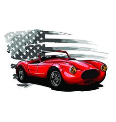 Emblem muscle car silhouette on flag vector