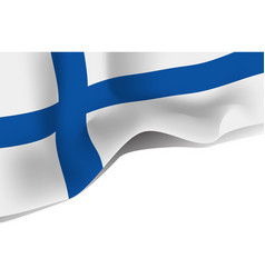 finland national waving flag isolated on white vector image