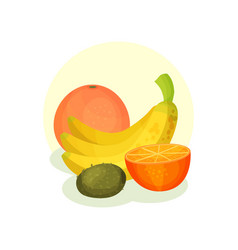 flat composition with fresh orange bananas vector image